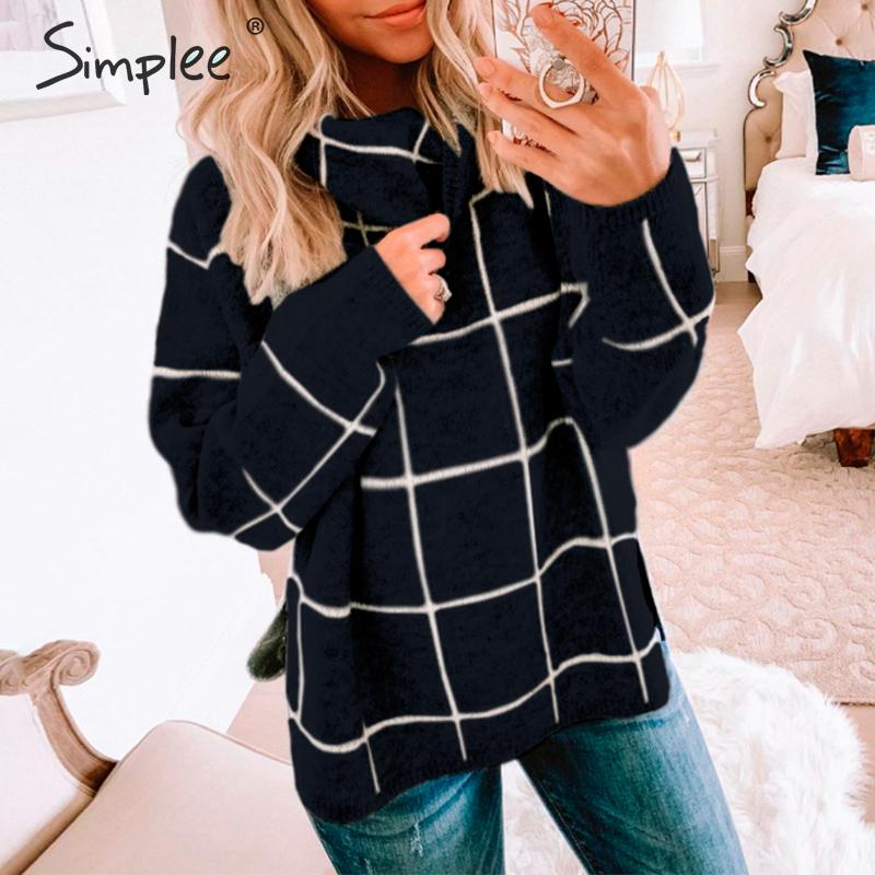 Simplee Women Plaid Sweater Turtleneck Soft Long Sleeve Casual Pullover Sweater Streetwear Ladies Chic Autumn Winter Sweaters