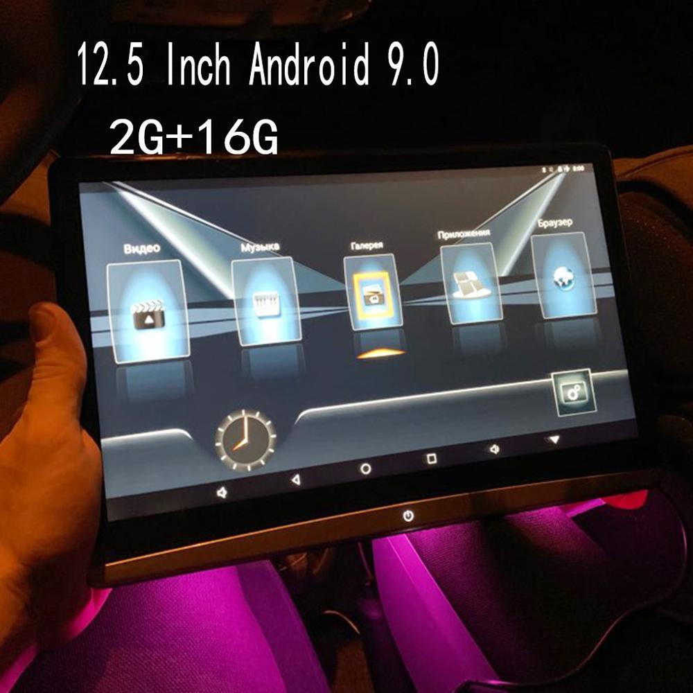 2019 encosto de cabeça do carro 12.5 Polegada tela hd 1080 p dvd player suporte wifi/hdmi/usb/tf/bt ram 2 gb definir logotipo app baixar android 9.0