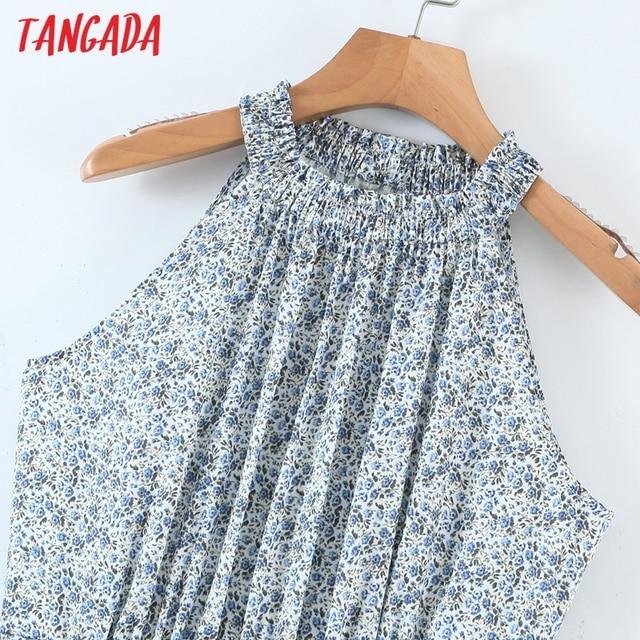 Tangada 2021 Summer Fashion Women Flowers Print Halter Dress Sleeveless Ruffles Female Casual Long Dress SL06 2