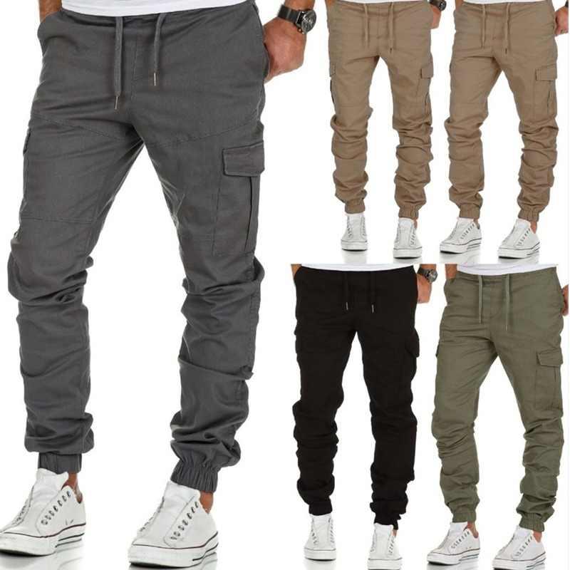 Mężczyźni biegaczy 2019 nowe spodnie na co dzień mężczyźni marka odzież sprężyna wysokiej jakości długie spodnie Khaki elastyczne męskie spodnie męskie biegaczy