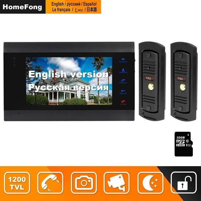 HomeFong فيديو باب الهاتف 7 بوصة مع 2 جرس الباب 1200TVL دعم قفل إلكتروني كشف الحركة تسجيل فيديو إنترفون للمنزل
