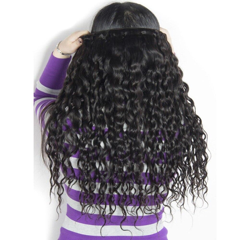 lote onda de água natural preto 100% extensão do cabelo humano
