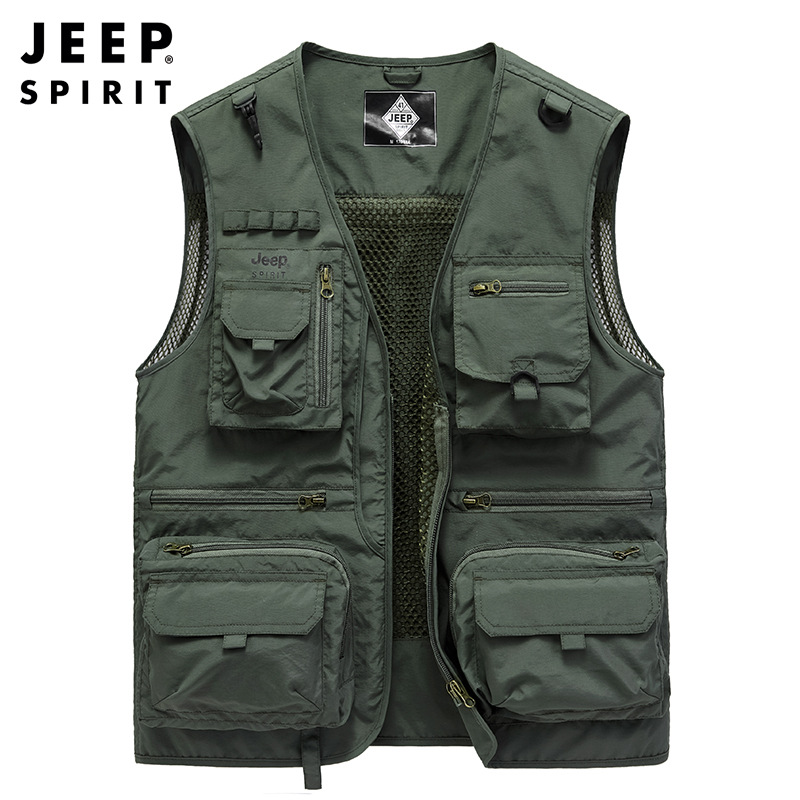 JEEP SPIRIT Men's Vest Spring New Mesh Multi-pockets Military Vest Fishing Tooling Vests For Men Chaleco Hombre Weste Size M-4XL