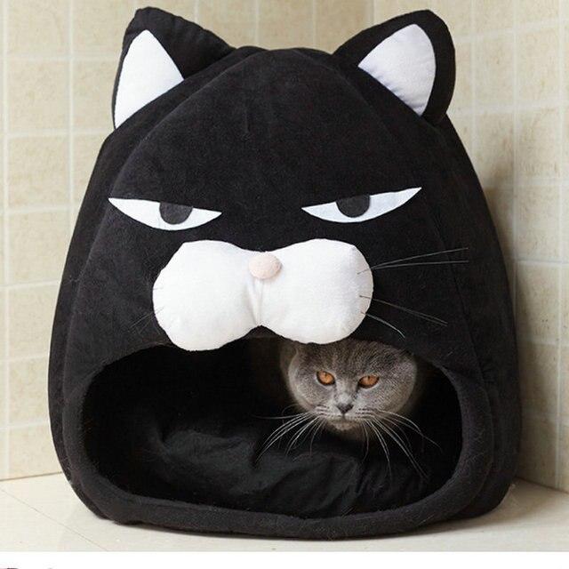Cartoon Cat bed Fleece Lovely Pet House for Puppy Cat Warm Soft Cat cave tent waterproof Bottom Sleep bag Cat Supplies  My Pet World Store