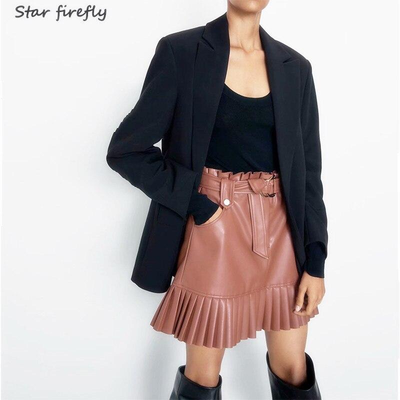 Star Firefly Elegant Office Mini Skirt Women2019 Autumn Casual High Waist Small Pleated PU Leather Skirt With Belt Decoration