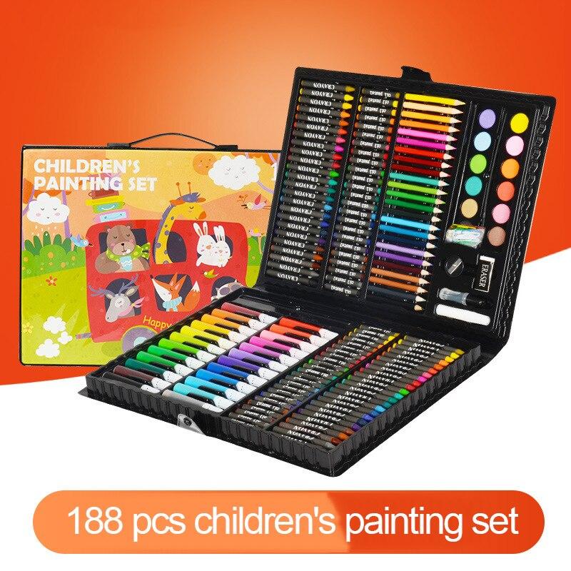 208 шт детский подарок акварельный рисунок художественный маркер кисть Набор для рисования детский художественный Набор для рисования подарок для детей канцелярские принадлежности для офиса - Цвет: 188color