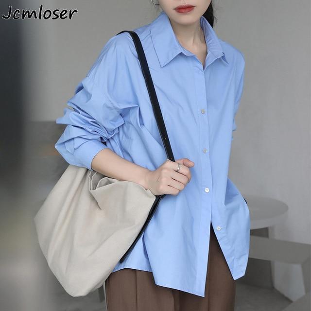 2021 Spring Summer Women Blouse Korean Long Sleeve Womens Tops Blouses  Solid Loose Women Shirts Blusas Roupa Feminina Tops 1