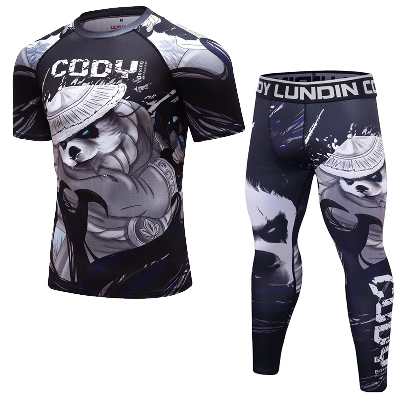 Men Boxing Suit Compression Sport Running T-Shirt+Pants Sets Tight Kickboxing Tracksuit MMA Muay Training Rashguard Fightwear