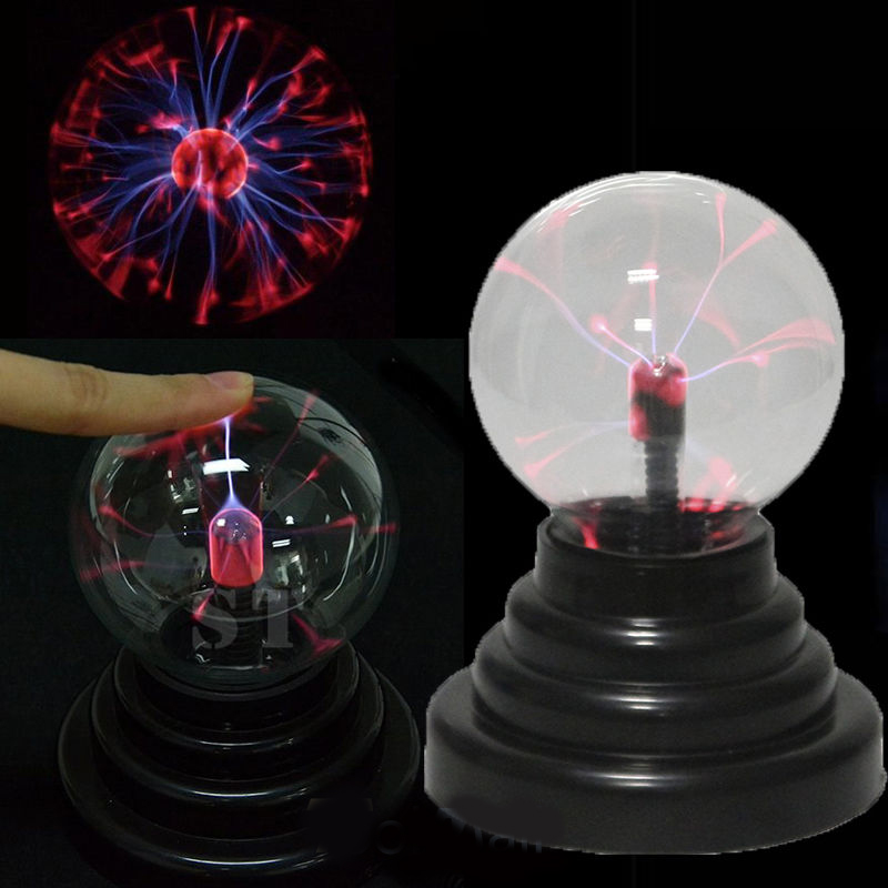 Novelty USB Ion Plasma Sphere Lamp Glass Ball Party Carnival Decoration Black