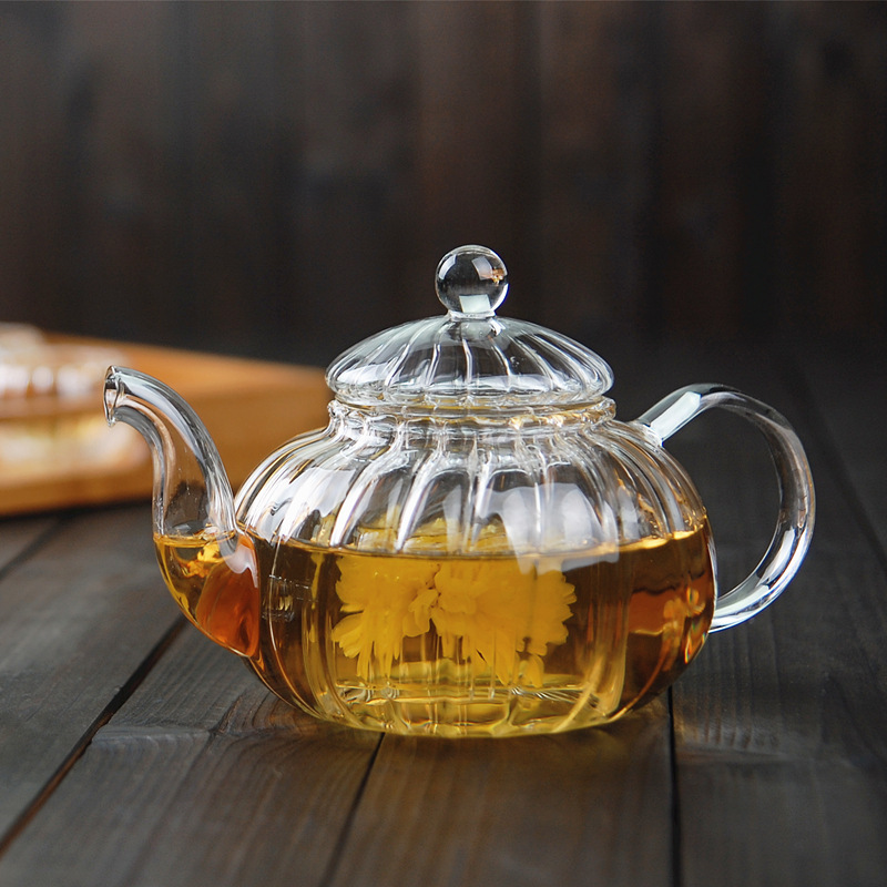 600ml Striped Pumpkin Shape Flower Teapot Glass Teapot With Infuser Tea Leaf Herbal Heat Resistant Glass Pot Flower TeaCup