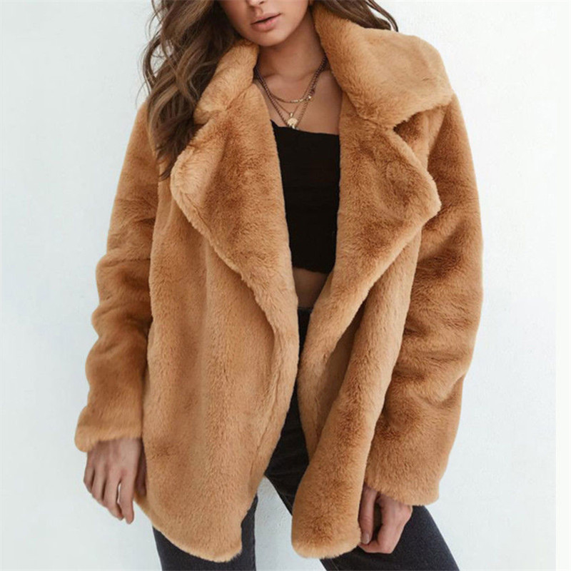 New Women Warm Winter Thicken Fleece Fur Coat Overcoat Outwear Turn Down Collar Cadigan Loose Coats Plus Size Loose Coat Jacket