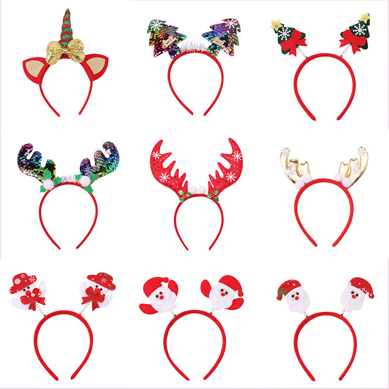 New Happy Christmas Hairbands For Women Girls Lovely Cartoon Santa Claus Snowman Antlers Tree Headband Fashion Hair Accessories