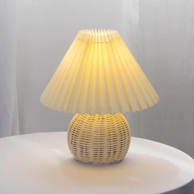 Europe Modern Pleated Fold Led Table Lamps Bedroom Desk Lamp Wood Rattan Stand Light Study Reading Home Decor Lighting Fixtures Led Table Lamps Aliexpress