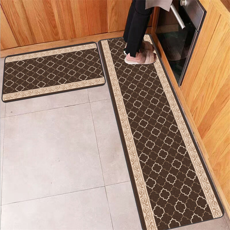 Door Mats Outdoor Lace Brown Geometric Pattern Strip Kitchen Mat Farmhouse Home Decor 40cmX60cm Kitchen Carpet Anti-Slip image