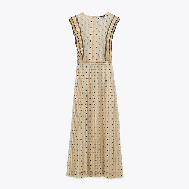2021Beige color polka dot printed chic style see through women summer sleeveless lace pleated dress Round neck slim fit 1