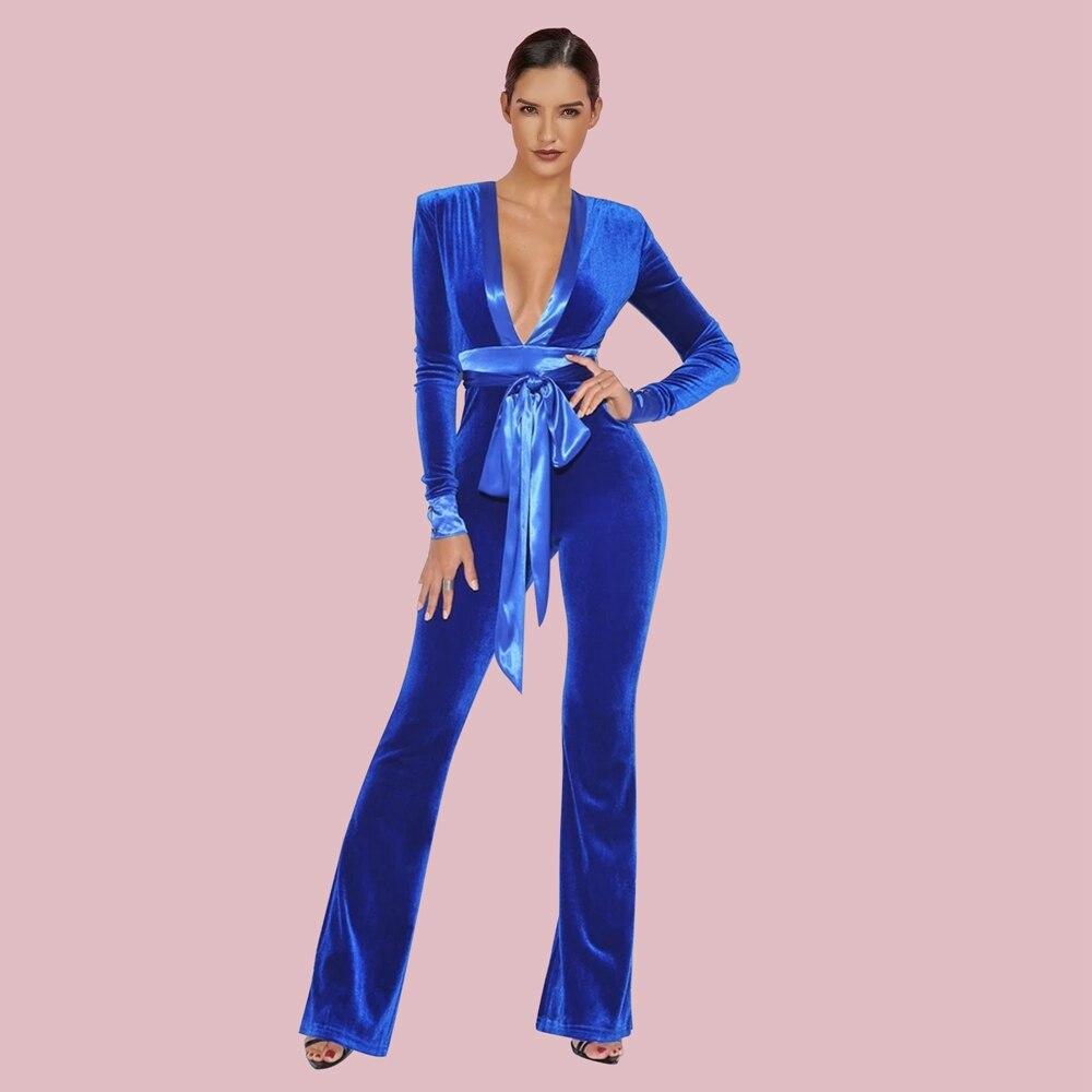 Ocstrade Blue V Neck Long Sleeve Maxi Tie Bodycon Jumpsuits FSY19246-Blue