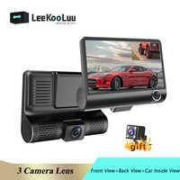LeeKooLuu voiture DVR 1080P HD 4.0 pouces caméra de tableau de bord double lentille avec vue arrière caméra enregistreur vidéo enregistreur automatique Dvrs Dash Cam