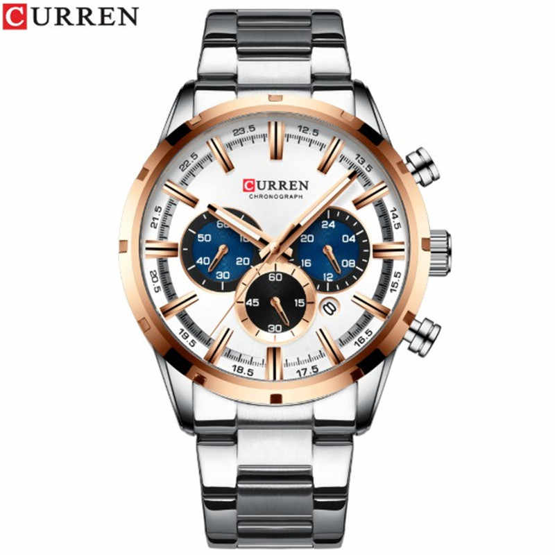 Nouvelle mode hommes montres avec acier inoxydable haut marque de luxe sport chronographe montre à Quartz hommes Relogio Masculino