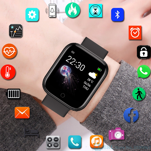 Sport Digital Watch Women Electronic Wrist Watch Bluetooth Fitness Band Ladies Color Digital Clock Android IOS Heart Rate Phone