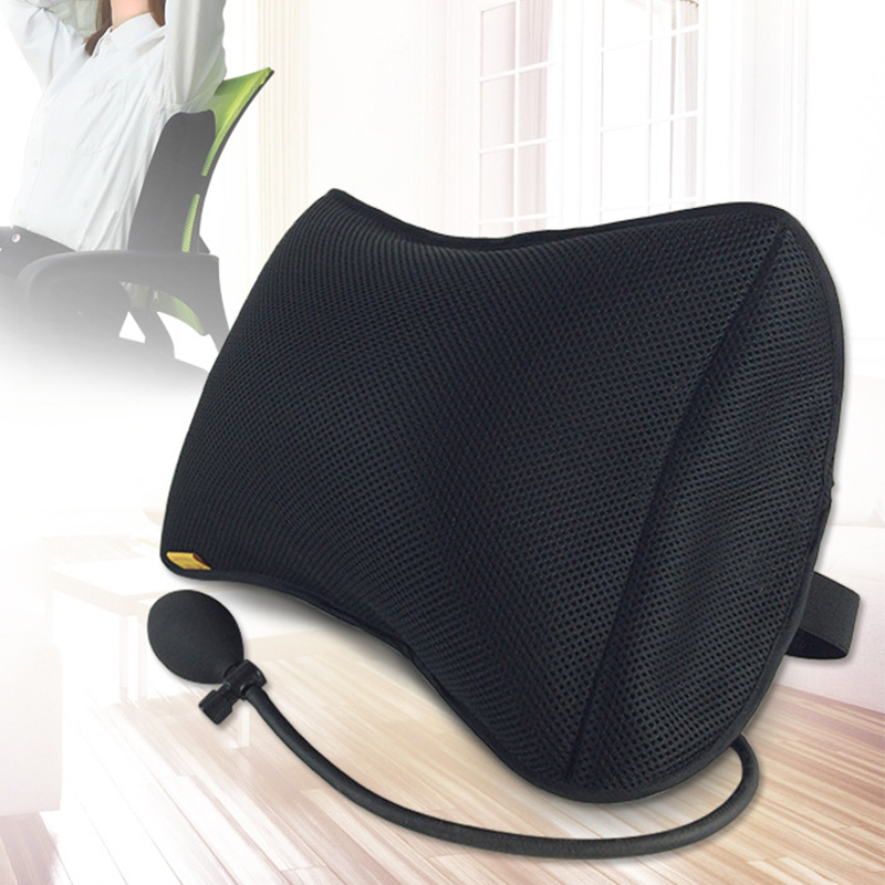 With Pump Removable Mesh Lumbar Support Back Massager Waist Cushion Pillow for Chairs Seat Pillows Home Office Relieve Pain