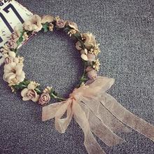 Женская свадебная роза искусственная Цветочная Гирлянда Венок повязка на голову и Свадебный волос венок резинка для волос украшения пляж обертка венок подарок
