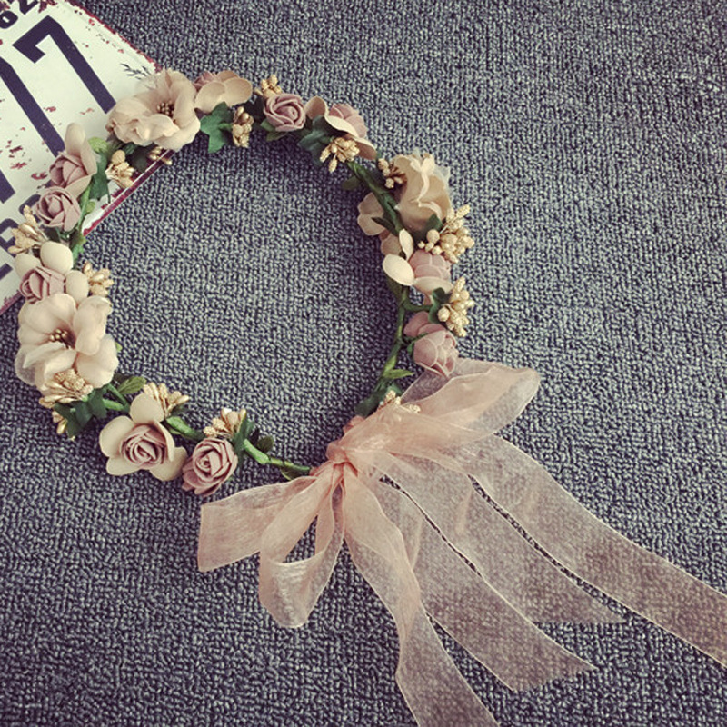 Women Wedding Rose Artificial Flower Garland Wreath Headband And Wedding Hair Wreath Hair Band Ornaments Beach Wrape Wreath Gift