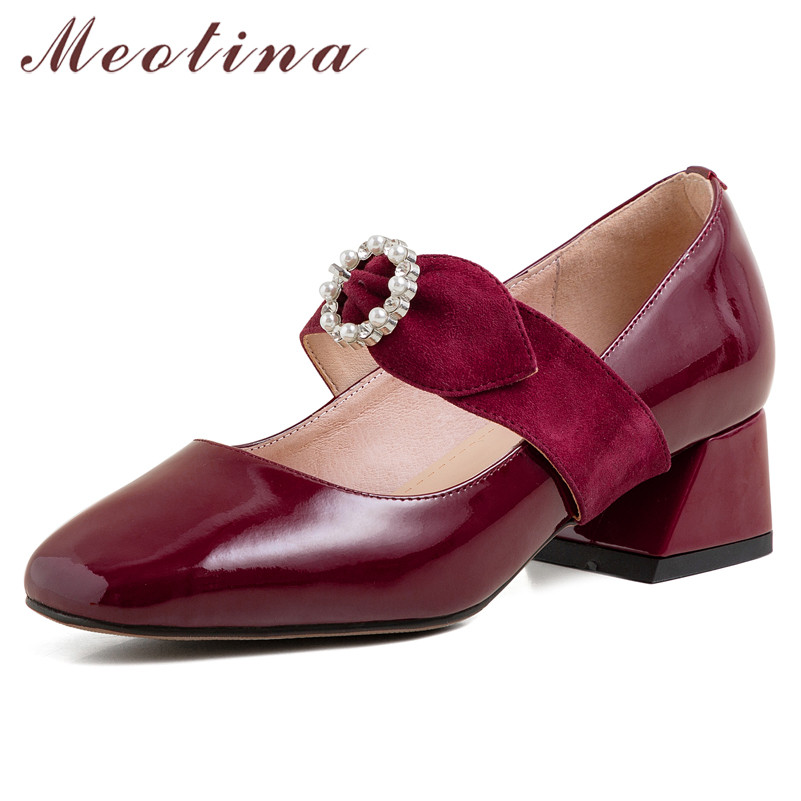 Meotina High Heels Women Shoes Natural Genuine Leather Thick Heel Mary Janes Shoes Cow Leather Bow Square Toe Pumps Lady Size 40