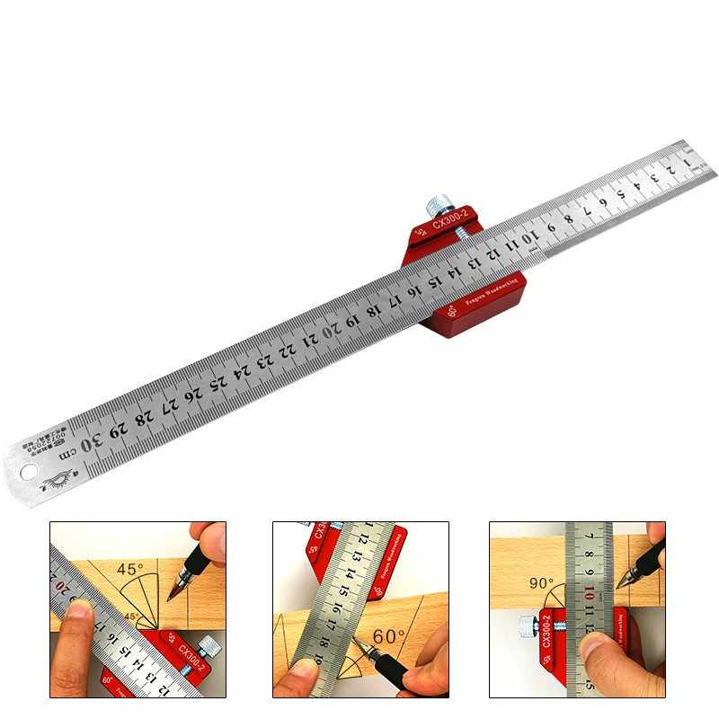 Adjustable Woodworking Ruler Round Center 45 Angle Scribe Mark Line Layout Gauge Carpenters Protractor 300mm Measuring Tools Gauges Aliexpress
