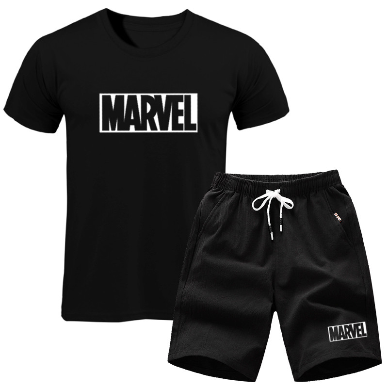 2019 Men's Set MARVEL TShirt+Shorts Men Sets Brand Clothing Two Pieces Tracksuit Fashion Casual Tshirt Workout Fitness Tshirt