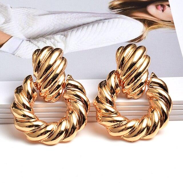 Gold Metal Drop Earrings  1
