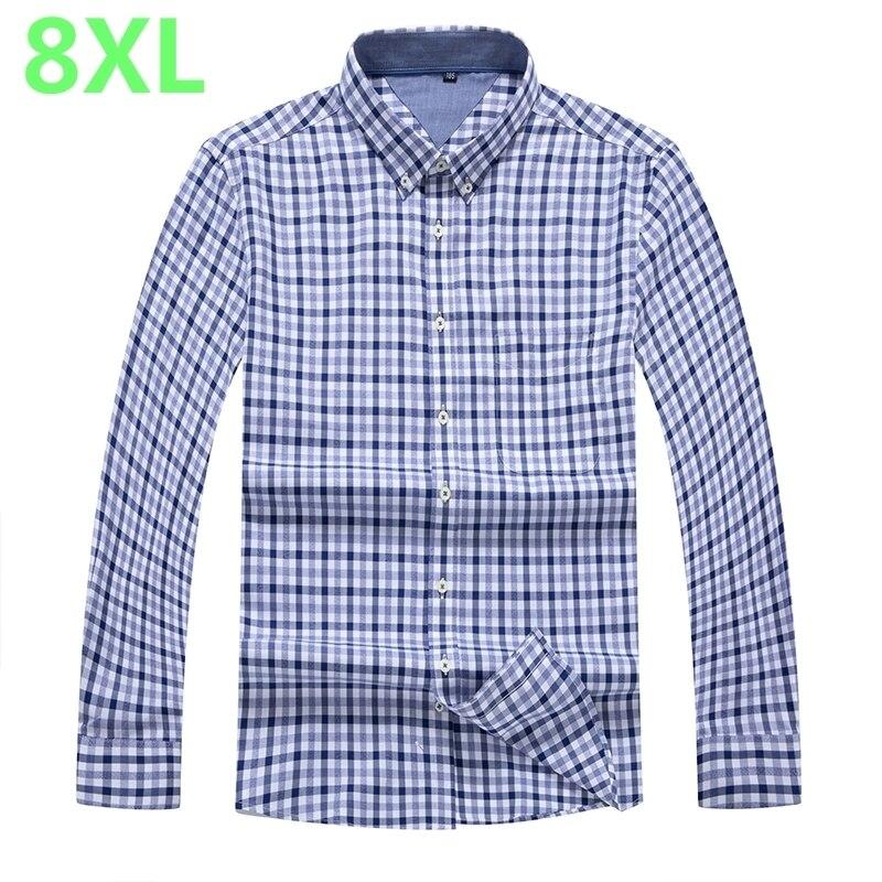 Plus 10XL 8XL 6XL 5XL 4XL Men Shirt Brand  Male High Quality Long Sleeve Shirts Casual Slim Fit 100% Cotton Man Dress Shirts