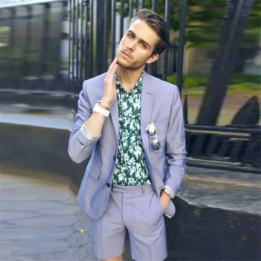 Fashion Spring Summer Beach Wedding Tuxedos Slim Fit Suits For Men Groomsmen Suit Two Pieces Prom Formal Suit (Jacket+Shorts)