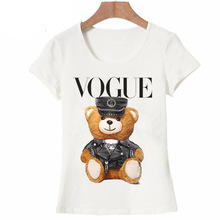купить Super Cute Vogue Police Teddy Bear T-shirt New Summer Matching Outfits Short Sleeve White Tops Family Matching Outfits Mom Tees в интернет-магазине