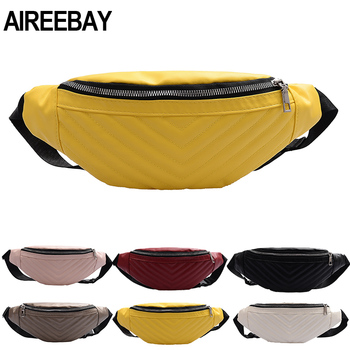 AIREEBAY Leather Fanny Pack For Women Waist Bag Casual Waterproof Antitheft Ladies Walking Belts Bag Brand Chest Bags