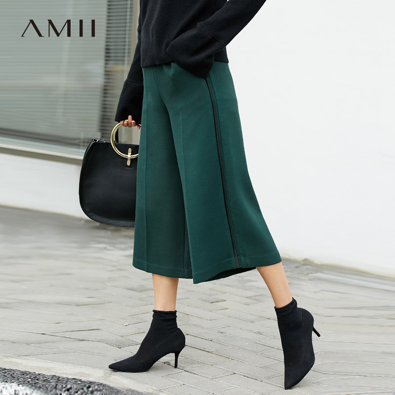 Amii Minimalist Wide Leg Pant Spring Women High Waist Solid Loose Female Straight Pants 11787548