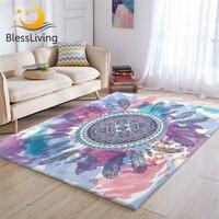 BlessLiving Mandala Feather Living Room Rug Pink Aqua Bedroom Carpet Hippie Circle Floor Mat Watercolor Floral Bohemian Tapete