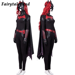Image 2 - Костюм для косплея Batwoman, костюм на Хэллоуин, костюм для женщин Batwoman, Кэтрин Гамильтон, комбинезон Kate Kane, сексуальная боди накидка, маска с париком
