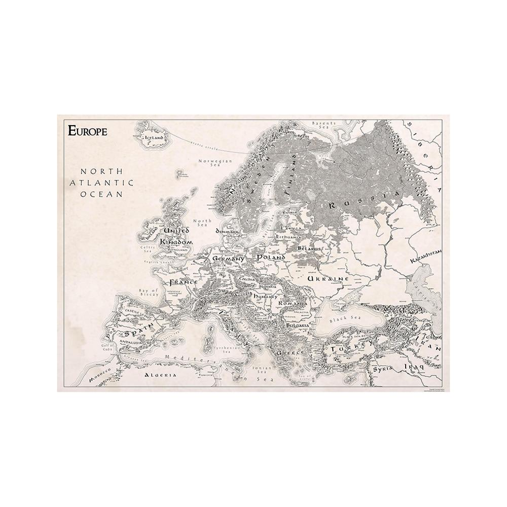 150x225cm Simple Europe Map Black White Nonwoven Decor Map For Office Home School Wall Decoration