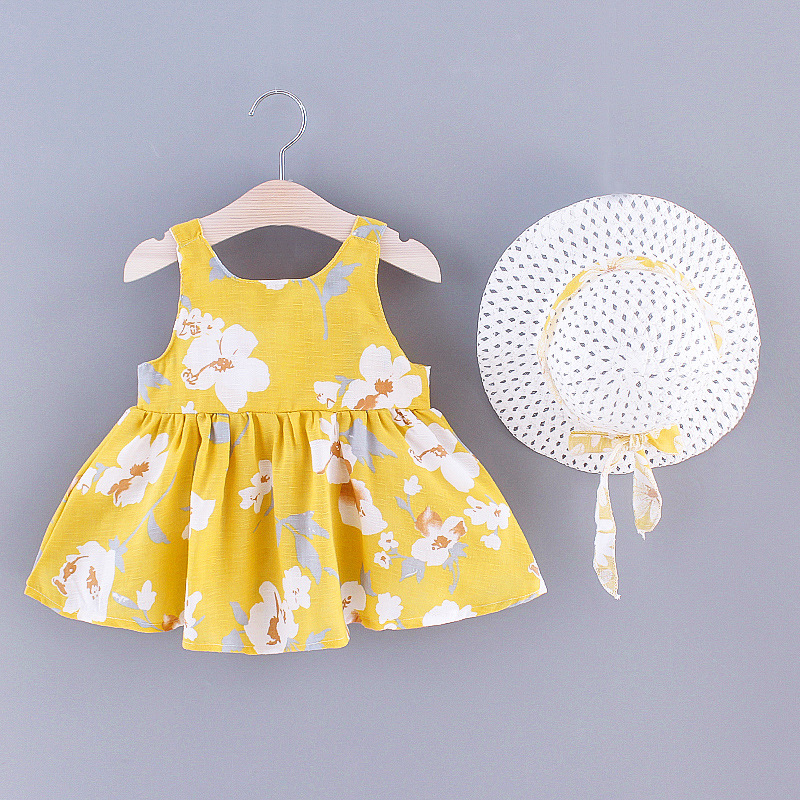 2021 New Fashion Baby Girl Dresses Princess clothing Cute 2pcs set Party Cotton Flower  Children  Bow Hat Sleeveless Sweet 1-3Y