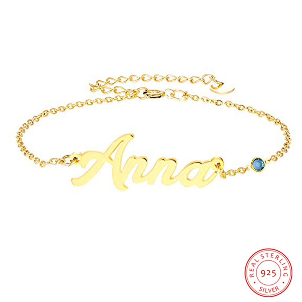 Personalized Name Bracelet Fashion 925 Sterling Sliver Bangle Custom Letters Birthstone Engagement  Jewelry Gift for Women