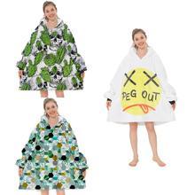 Obszerna bluza z kapturem bluza do noszenia koce leniwy koc bluza z kapturem sweter na co dzień ciepłe piżamy koc TV dla dorosłych tanie tanio CN (pochodzenie) Other PRINTED TV Blanket Zwykły Tkane Podróży Pościel