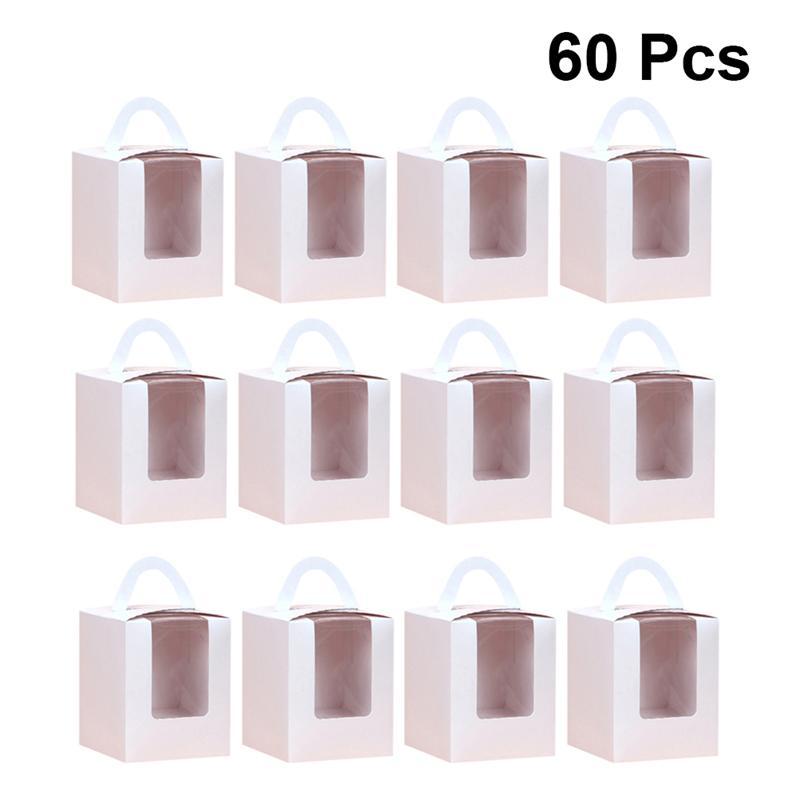60 pièces boîte à gâteaux blanc Unique Simple mode Portable cas de gâteau mignon cadeau jetable alimentaire conteneurs fourre-tout fenêtre ouverte boîtes à gâteaux