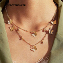 FROZENSHEEP Bohemia Butterfly necklace For Women Double Layered Chain simple Fashion gold Necklaces Choker Jewelry wholesale stylish bar layered black choker necklace for women