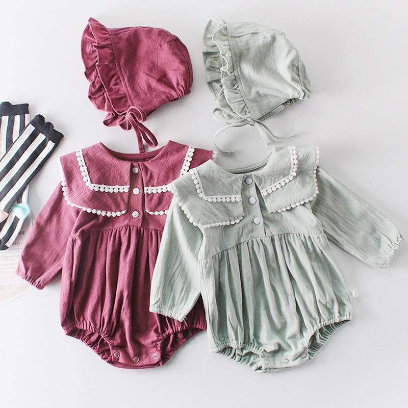 Twins Baby Clothes Baby Girl Jumpsuit Newborn Cotton Bodysuit Spring Autumn Princess Lace Long Sleeve Romper +Hat 2Pcs Suit