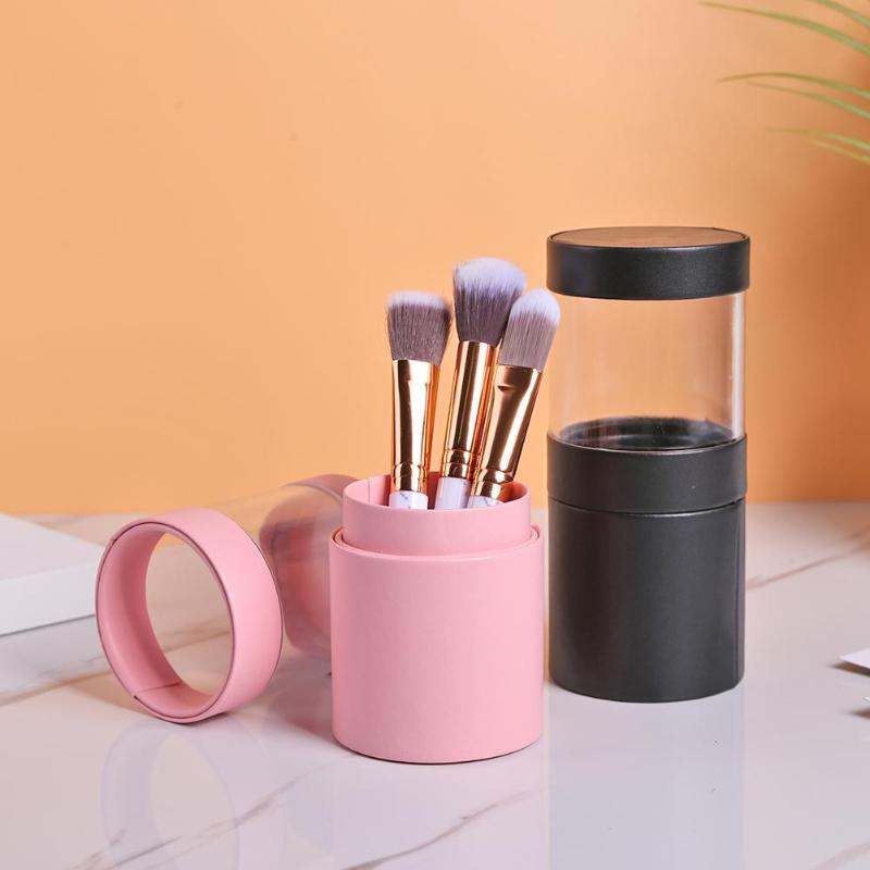 PU+PVC Visible Makeup Brush Holder Simplicity Two Way Cut Double Clasp Travel Cosmetic Pens Storage Cup Organizer