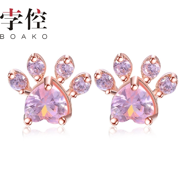 BOAKO Rose Gold Color Cute Dog Cat Paw Stud Earrings For Women Girls Crystal Animal Footprint Pendientes Fashion Jewelry(China)