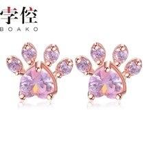 Женские серьги гвоздики boako в виде собачьей лапы розового