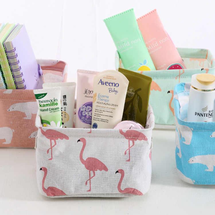 Desktop Lagerung Korb Cute Flamingo Wasserdichte Organizer Baumwolle Leinen Kleinigkeiten Lagerung Box Schrank Unterwäsche Lagerung Tasche