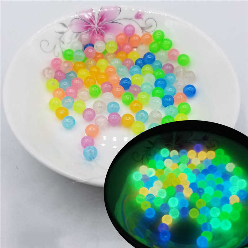 200Pcs 6-12mm Luminous Acrylic Beads Glow In The Dark Spacer Beads For Jewellery Marking DIY Necklace Bracelet Accessories
