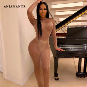 ANJAMANOR Backless Long Sleeve Maxi Dress See Through Knitted Glitter Fall Bodycon Dresses Woman Party Night Clubwear D36-AA11(China)